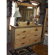 Dresser with Lamps and a Mirror